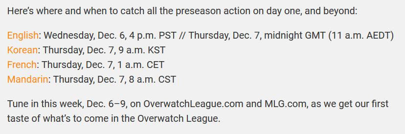 Overwatch League Preseason schedule