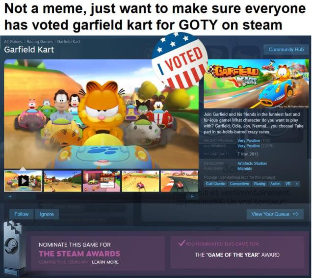 The Internet Is Rigging Garfield Kart As Steam Game Of The Year Ekgaming